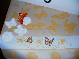 Asciugapiatti con farfalle Viola e fiori gialli