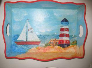 Vassoio con paesaggio marino