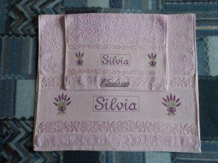 Coppia asciugamani lilla - Silvia