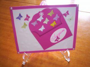 biglietto fucsia farfalle