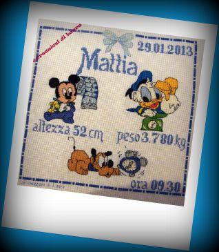 QUADRETTO NASCITA - BABY DISNEY- MATTIA- SCHEMA NATALIA