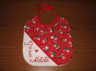 Bavaglino Buon Natale - tessuto babbi natale