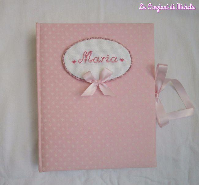 Album foto nascita rosa cuori piccoli per Maria