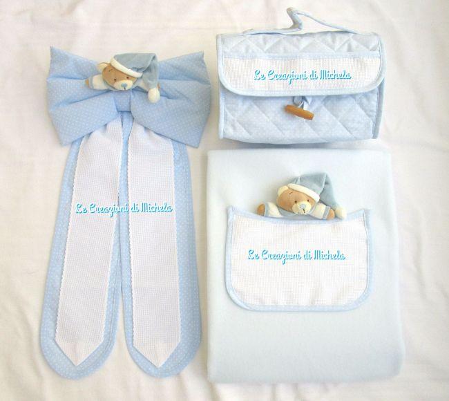 Completo fiocco nascita,beauty case e copertina