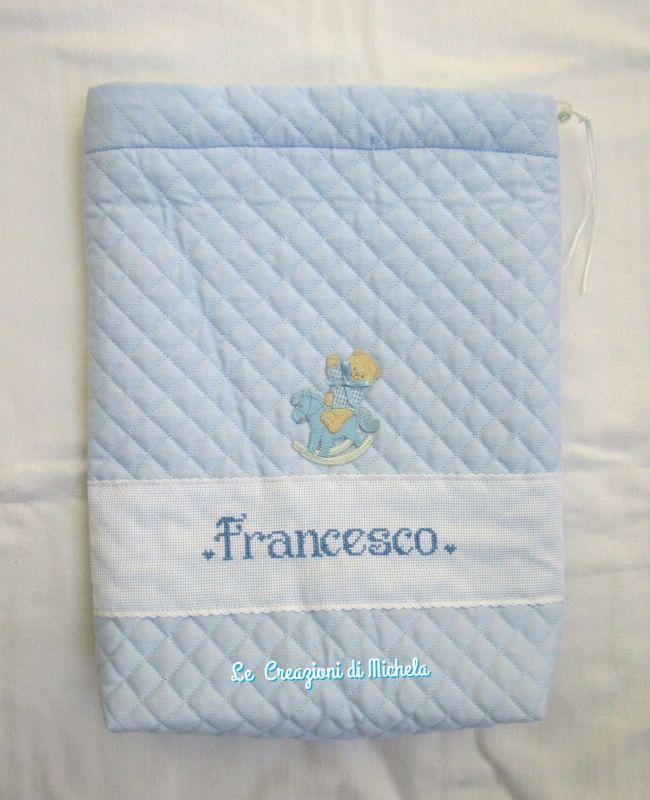 sacchetto trapuntato  personalizzato per Francesco