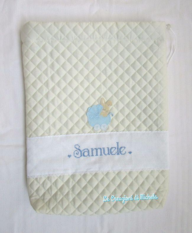 sacchetto trapuntato  personalizzato per Samuele