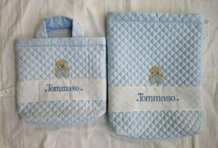 Beauty case e borsa trapuntata, personalizzata per Tommaso