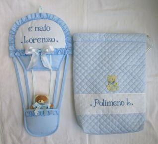 Completo fiocco nascita mongolfiera+sacchetto per Lorenzo