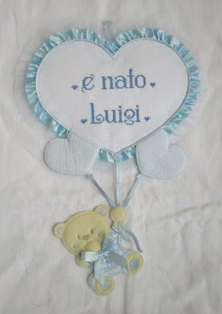 fiocchi nascita cuore con orsetto personalizzato per Luigi