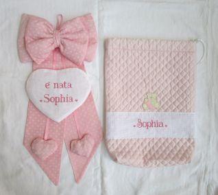 fiocchi nascita e sacchetto trapuntato per Sophia
