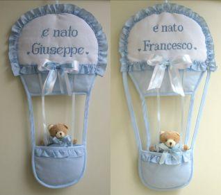 fiocchi nascita mongolfiera per Giuseppe e Francesco