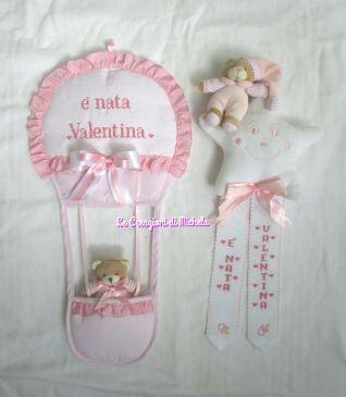 fiocco  mongolfiera e stella con orsetto personalizzati per Valentina