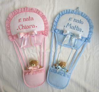 fiocco nascita mongolfiera per Chiara e Mattia