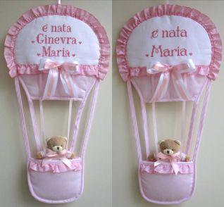 fiocco nascita mongolfiera per Ginevra Maria e Maria