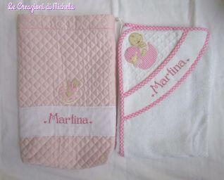 sacchetto trapuntato e accappatoio per Martina