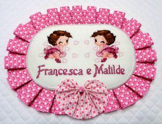 cuscino nascita Francesca e Matilde