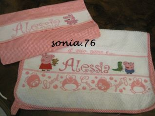 set asilo Alessia + Peppa Pig (asciugamano e bustina)