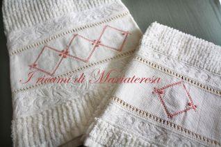 Coppia di asciugamani punto gigliuccio, quadro, vapore_1