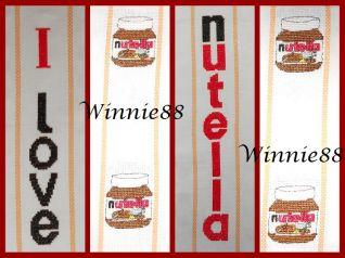 Asciugapiatti - I love Nutella + barattolini Nutella - particolare