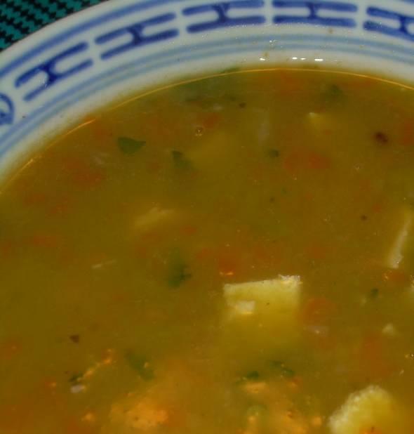Zuppa di piselli e sogliola