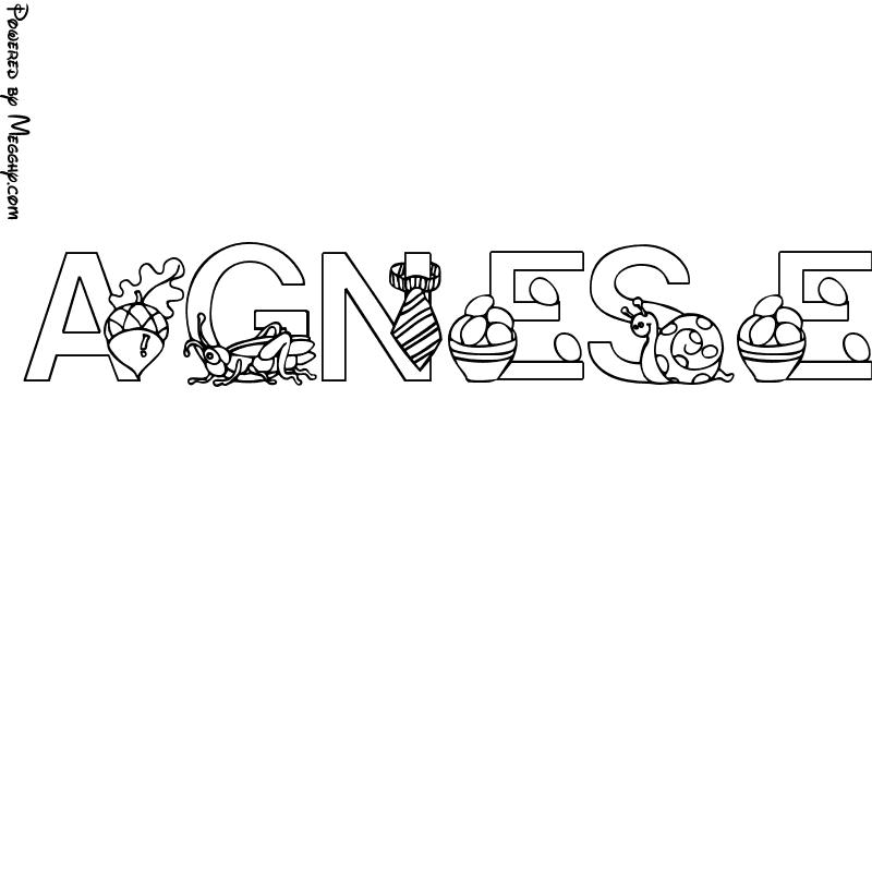 Disegno per bambini agnese da stampare e colorare