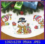 NATALE: I sottoalbero - schemi e link-dimensions-08823-three-snowmen-tree-skirt-jpg