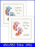 Sampler nascita - schemi e link-dmc-bk967-ten-tiny-toes-sampler-pink-blue-jpg