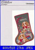 Natale: Le calze- schemi e link-vermillion-stitchery-christmas-puppies-stocking-jpg