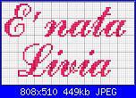 """scritta """"E' nata Livia"""" + consiglio x fiocco nascita-commercialscript-jpg"""