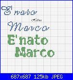 """Scritta """" E' nato Marco"""".....-m1-jpg"""