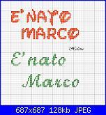 Scritta * E' nato Marco* fiocco nascita-nato-marco1-jpg