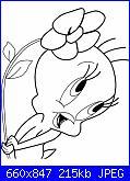 Riproduzione schema Titti-disegno-titti-con-fiore-da-colorare-660x847-jpg