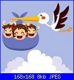 3 gemelli e cicogna-18066654-carino-cicogna-volare-con-tre-triplette-bambino-eccitato-per-la-consegna-jpg