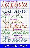 "Scritte: ""la frutta"", ""la pasta"" con alfabeto corsivo-la-pasta-jpg"