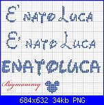 """Scritta nome """" E' nato Luca"""" con font waltograph-luca-png"""