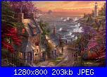 Thomas Kinkade-The Village Lighthouse-thomas-kinkade-village-lighthouse-wallpaper-1280x800-jpg