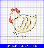 CERCO SCHEMA :chioccia con pulcini, pecore piccole e grandi-disegni-punto-croce-pollo-jpg