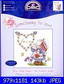 """Somebunny to love"" della DMC-first-initial-canvas-bl750-51-jpg"