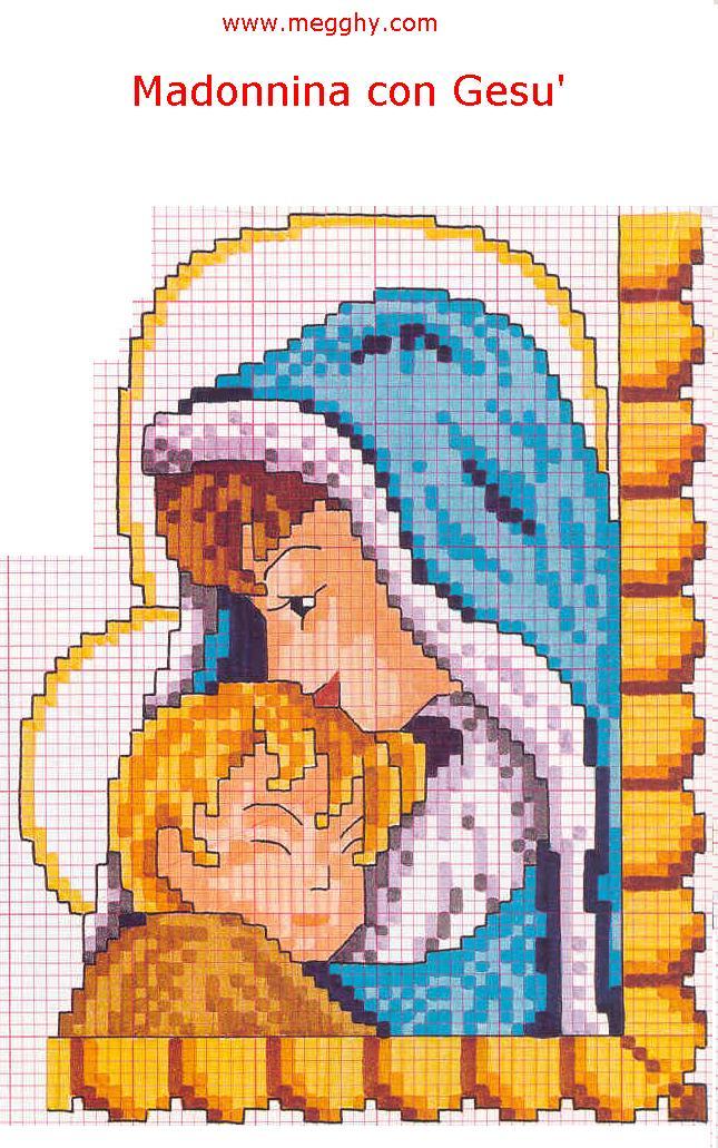 Schemi punto a croce religiosi di madonnine for Punto croce immagini