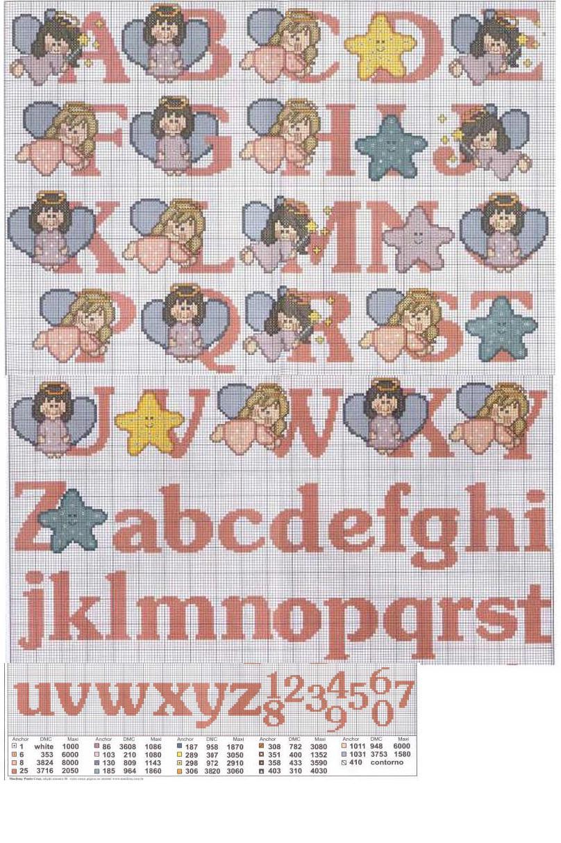 Alfabeti punto croce angioletto anguria bimbi dal mondo for Schemi punto croce alfabeto bambini