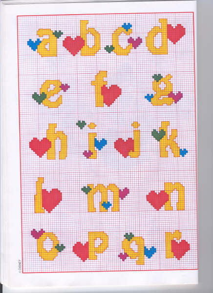 Alfabeti punto croce donald fiore e flubber for Schemi punto croce alfabeto bambini