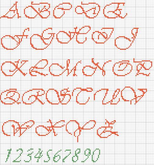 Alfabeti Punto Croce Verde Vivaldi Maisculo E Numeri Punto Scritto