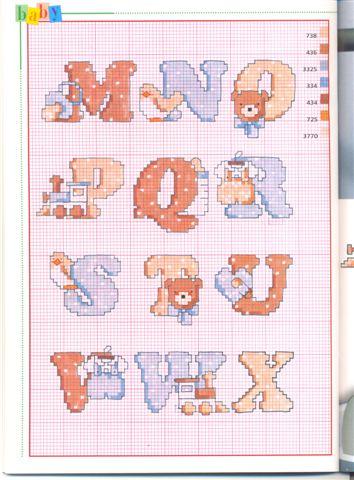 Schema punto croce alfabeto bebe2 for Alfabeti a punto croce per bambini