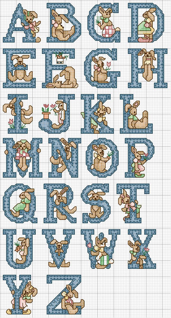 Preferenza Schema Punto Croce Alfabeto Coniglietto Blu CP79