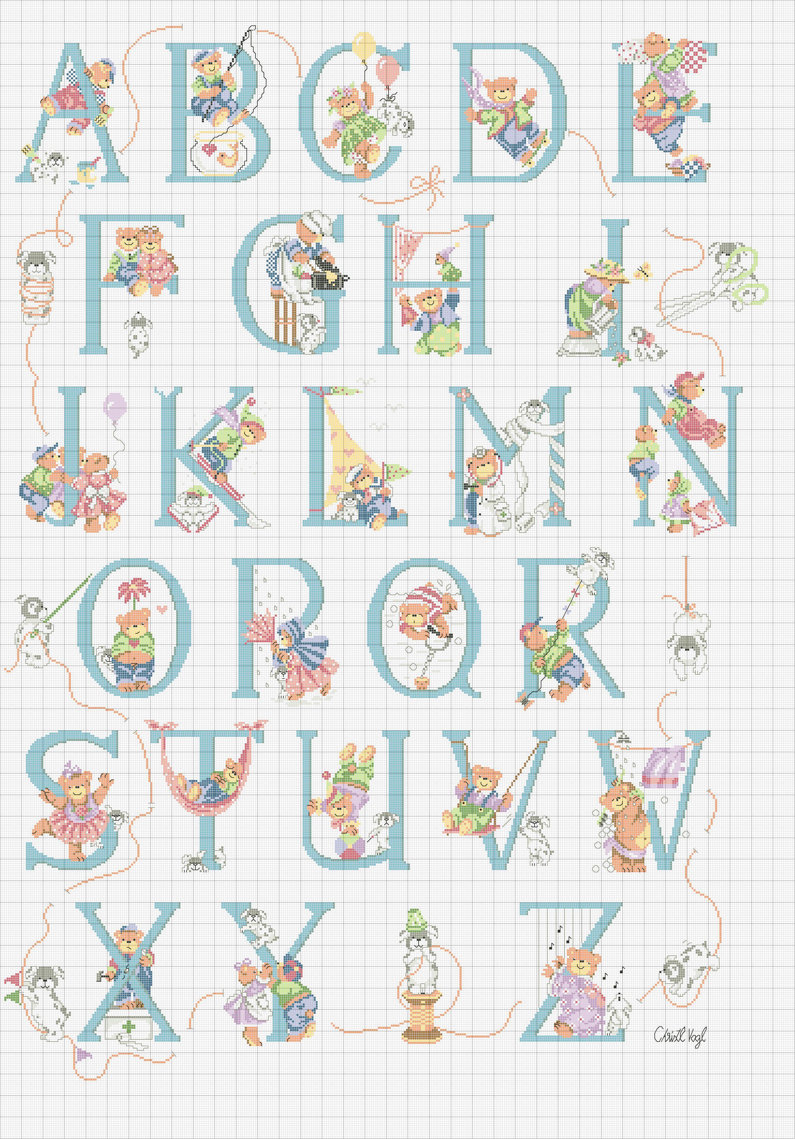 spesso Alfabeti punto croce: Orsetto, Pupazzi di neve, Winnie The Pooh  RN78
