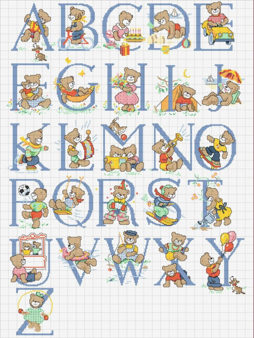 Schema punto croce alfabeto orsacchiotti2 for Alfabeti a punto croce per bambini