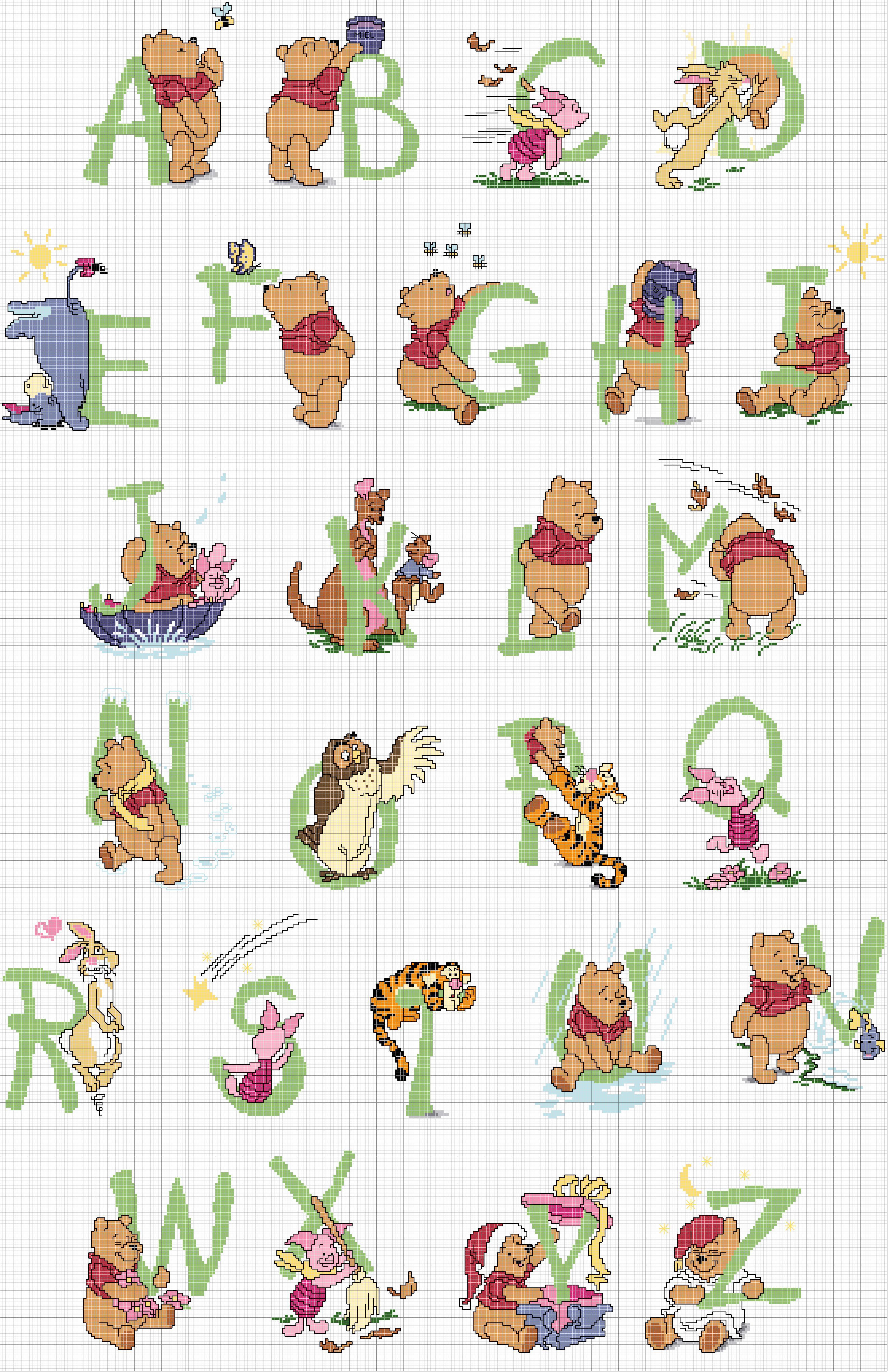 abbastanza Schema Punto Croce Alfabeto Winnie BY14