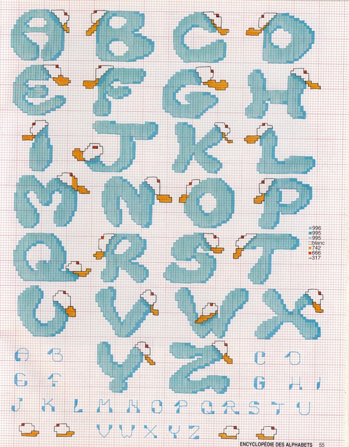 schema punto croce alfabeto casquette