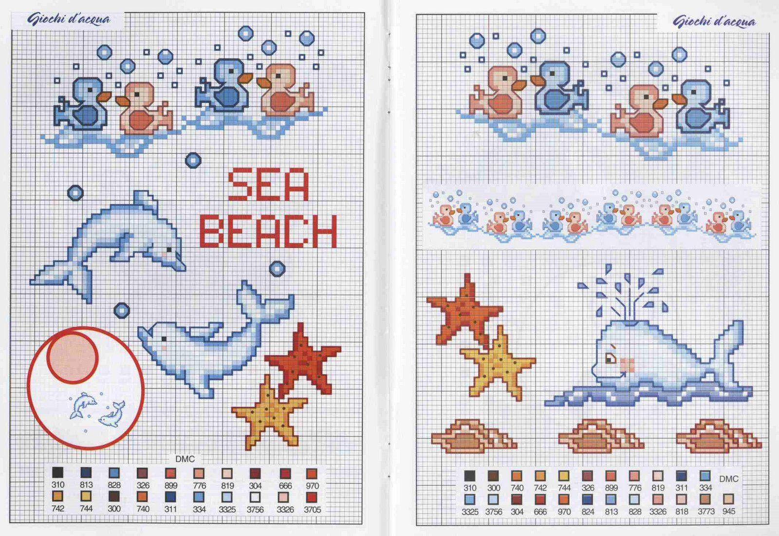 Schema punto croce animali marini for Schemi punto croce animali