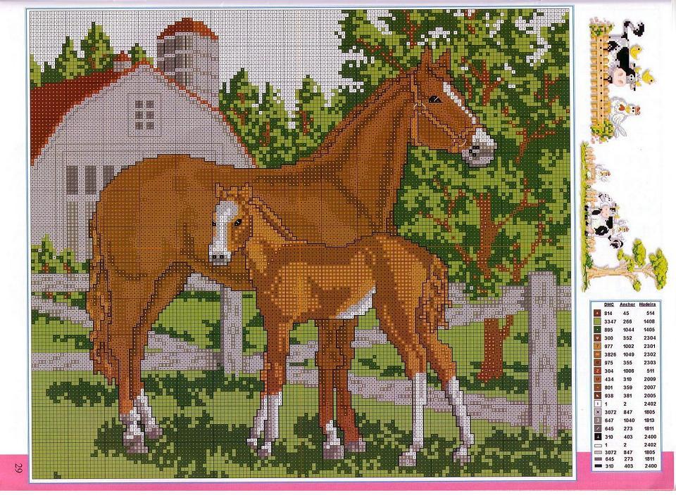 Вышивка крестом лошади в лесу 25